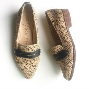 Sole / Society Jessica fur leather flats animal